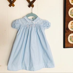 Vintage Baby Blue Smocked Dress